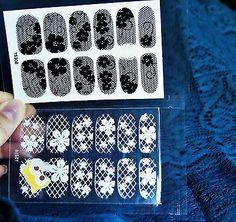 2 pack Lace Nails,Black/white lace nail wrap,Black/white Rose,Nail sticker,Nails