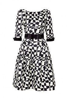 Exclusive Graphic Print Fifties Dress by Suzannah
