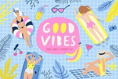 Good Vibes Summer Set by Bosotochka❤️Art on Alphabet and summer cards Pencil Illustration, Watercolor Illustration, Graphic Illustration, Summer Phrases, Texture Web, Summer Clipart, Design Typography, Summer Set, Happy Summer