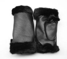 new luxury genuine sheepskin leather/real natural mink fur fingerless gloves SML