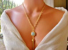 Pale greenish blue Agate Necklace by NKcollection on Etsy, $48.00