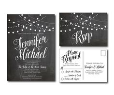 Rustic Chalkboard Wedding Invitation  String Lights  by ClearyLane