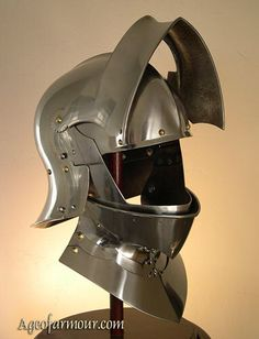 Sallet close helm, visor and bevor open