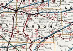 Huron County, Ohio, 1901, Map, Norwalk, New London, Greenwich, New Haven, North Fairfield, Monroeville, Collins, Wakeman, Clarksfield, Fitchville, OH