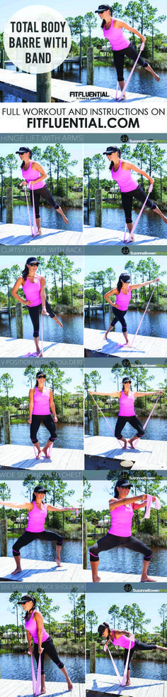 Full body barre workout with a band - do this workout at home or anywhere - all you need is a band. Click for full workout and instructions from Suzanne Bowen.