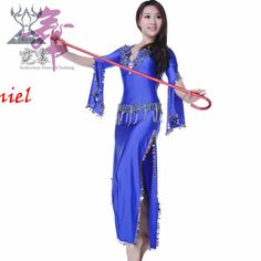 Saidi Dress two piece(dress+waist) 6 color belly dance costume set professional free shipping