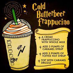 Butterbeer from Starbucks! Butterbeer from Starbucks! Harry Potter Drinks, Harry Potter Food, Harry Potter Desserts, Harry Potter Recipes, Harry Potter Universal, Butterbeer Recipe, Butterbeer Frappuccino, Starbucks Secret Menu Drinks, Starbucks Coffee