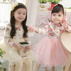 Aliexpress.com : Buy Fashion Korean Style Floral Gauze Long Sleeve Dresses for Girls Kids Baby Children's Wear Clothing Ball Gown Pink & Beige Colors from Reliable dress suppliers on beike's store