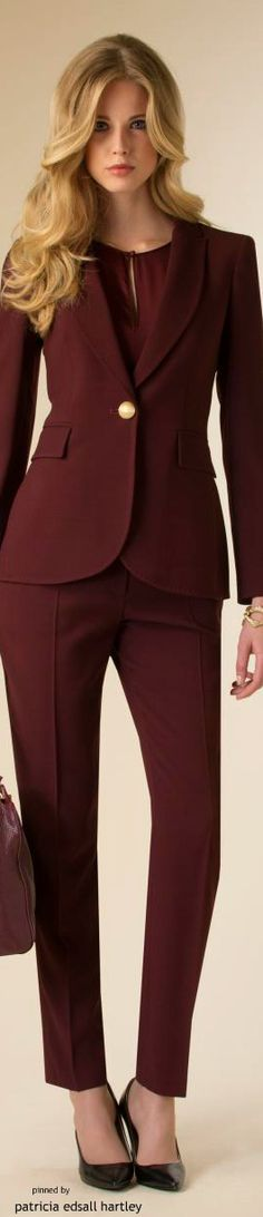 Luisa Spagnoli - FW 2015 burgundy suit women fashion outfit clothing style apparel @roressclothes closet ideas