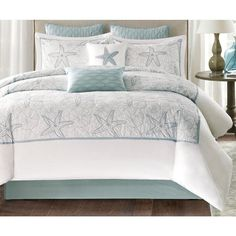 Harbor House Maya Bay Comforter Set features soft sea-foam blue seashells and sand dollar embroidery on a white background with matching pillow shams. Set includes comforter, 2 pillow shams, and bed skirt with drop. Beach Bedding Sets, Blue Bedding, Beach Comforter, Luxury Rooms, Luxury Bedding, Grey Comforter Sets Queen, Khao Lak Beach, Lamai Beach, Harbor House