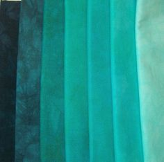 7 Fat Quarters Hand Dyed Quilting Fabric  Aquamarine  by dyecandy