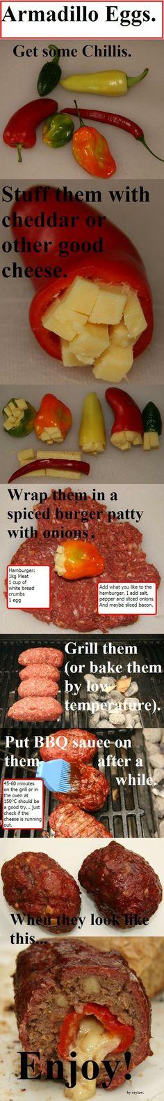 Pepper and Cheese stuffed hamburgers.