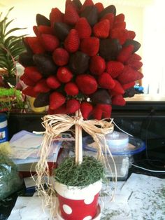 Chocolate dipped Strawberry Tree made for teacher appreciation week
