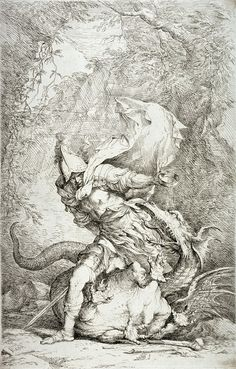 The great Salvator Rosa - Jason and the Dragon, Italian 1663 - 1664 Etching and drypoint.