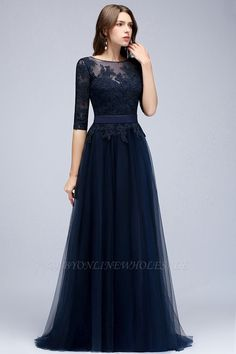 Affordable bridesmaid dresses at Bmbridal. All navy lace bridesmaid dresses with sleeves are professionAlly navy half-sleeves lace appliques popular bridesmaid dressesmade, just come and pick the perfect ones for your bridesmaids. Simple Dresses, Cheap Dresses, Sexy Dresses, Evening Dresses, Fashion Dresses, Modest Formal Dresses, Navy Formal Dress, Hijab Evening Dress, Navy Gown
