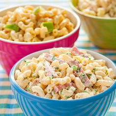 Macaroni Salad from Cook's Country Mag -- Really good & simple.  1lb elbow mac, 1/4 c. minced onion, 1 celery rib minced, 1/4 c. chopped fresh parsley, 2 Tbsp lemon juice, 1 Tbsp Dijon mustard, 1/8 tsp garlic powder, 1/8 tsp cayenne pepper, 1 1/2 c. mayo.  I added 8 oz cubed sharp cheddar and 1/2 c or so chopped sweet pickles. Delish!