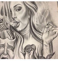 Art Chicano, Cholo Art, Evil Tattoos, Gangster Tattoos, Line Art Tattoos, Body Art Tattoos, Batman Drawing, Prison Art, Street Tattoo