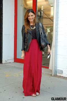 long flowly skirt with a tough leather jacket - awesome