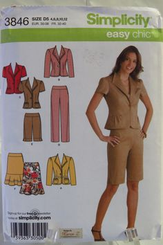 Simplicity 3846 Misses and Miss Petite Pants or City Shorts, Skirt and Jacket