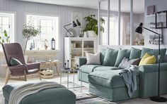 IKEA GRÖNLID green sofa with storage and INDUSTRIELL natural untreated pine bench create a calming living room set along with smart storage from HEMNES. Ikea Living Room, Small Living Rooms, Living Room Sets, Living Room Furniture, Living Room Designs, Cozy Living, Sofa Green, Ikea Sofas, Small Space Design