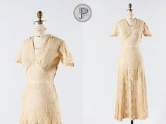 1930s+dress+small+medium+/+30s+sheer+dress++Toasted+by+TheParaders,+$228.00
