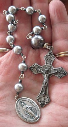 Hand Chained Pocket Rosary Glass Pearls by moonandstarsstudio, $18.00: