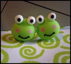 Polymer Clay Frog Stud Earrings by DiamondArrows on Etsy, $2.00