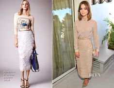 ✶Jenna Coleman attended the BAFTA Los Angeles and the Britannia Awards held at Chateau Marmont on 29 Oct 2014 in Los Angeles, CA, joining fellow British actresses Felicity Jones and Lily Collins. Channelling an ultra chic look the 'Doctor Who' actress wore Burberry Prorsum Resort 2015 shirt and pailette accented pencil skirt giving her a streamline silhouette. The achingly stylish, fresh, clean look was accessorized with an Edie Parker clutch and taupe Louboutin pumps✶