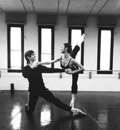 "Polina Semionova and Friedemann Vogel rehearsing for ""Diamonds"" /Teatro alla Scala"