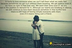 It Hurts To Love Someone When We Can't Tell Them..