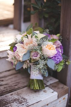 Blush and purple bridal bouquet, wedding flowers