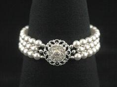 Pearl Wedding Jewelry -- Wedding Bracelet, Pearl Cuff, Vintage Bridal Jewelry, Three Strand, Swarovski Pearls, Rhinestones, Silver -- ANNE. $56.00, via Etsy.