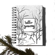 Bullet journal monthly cover page, outdoor drawing, forest drawing, snow drawing, January cover page. | @doodleandbujo