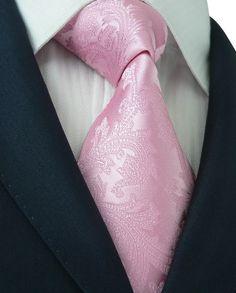 0dfaf70f1f3a Landisun 93A Paisleys Mens Silk Tie Set: Tie+Hanky+Cufflinks Pink,  3.25