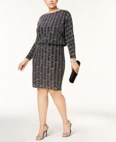 1186cfc8ea7 Jessica Howard Plus Size Metallic-Print Blouson Dress   Reviews - Dresses -  Women - Macy s