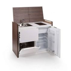 Perfect for tiny spaces, this multifunctional unit can be used as a kitchen, storage and workspace.