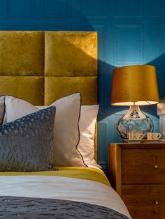 Suna Interior Design and Pantone Colour of the Year, Classic Blue — SUNA Yellow Room, Interior Design, Bedroom Color Schemes, Bedroom Colors, Bedroom Interior, Interior Design Living Room, Blue Bedroom, Mustard Bedroom, Yellow Headboard