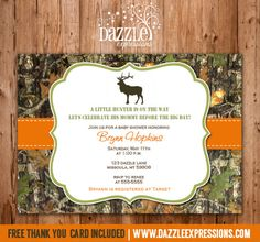 Printable Mossy Oak Hunting Baby Shower Invitation | Little Hunter | Camp | Camouflage | Elk | Deer | FREE thank you card included | Party Package Decorations Available | www.dazzleexpressions.com