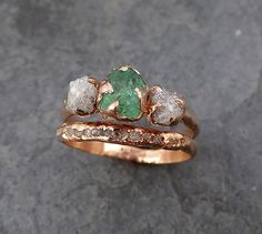 Raw Rough Emerald Conflict Free Diamonds Rose Gold by byAngeline