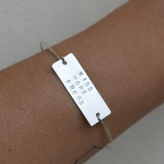 Cuff bracelet silver personalized message tag by AMEjewels on Etsy