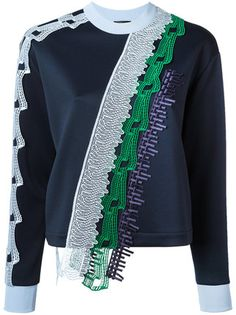 Versace 사선 레이스 패널 니트 탑