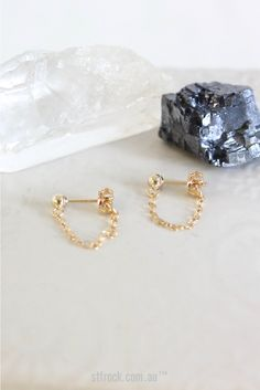 The Littl Chain Stud Earrings - 14k Yellow Gold | St. Frock