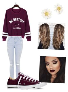 """Everyday at school"" by burrellsm on Polyvore featuring WithChic, Topshop, Converse and Kate Spade"
