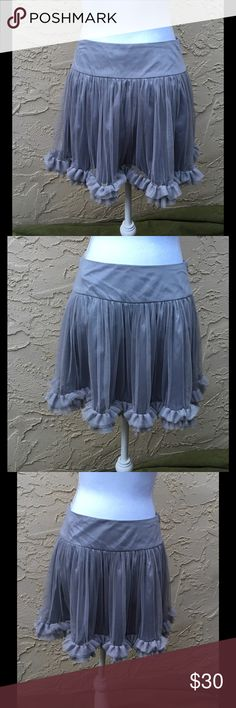 "✨🆕 Mini Skirt Tulle Ruffled Size Small By Ryu Grey Tulle Fully Lined Mini Skirt, Ruffled Hem. New With Tag By Ryu Boutique. Size Small Measure, 15"" waist, 15"" Length. Ryu Skirts Mini"