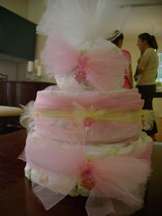 diaper cake pink and tulle!