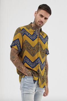 6197f6f4969 ASOS DESIGN regular fit shirt with chevron leopard print stripe  ad (men