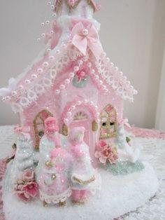 Musical Pink & Glitter Christmas Village Church/House W Figurines