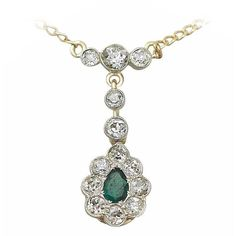 Preowned 0.20 Ct Emerald And 0.82 Ct Diamond, 18k Yellow Gold Pendant... ($3,707) ❤ liked on Polyvore featuring jewelry, pendants, drop necklaces, yellow, yellow gold diamond pendant, antique pendants, diamond jewelry, yellow diamond pendant and antique gold jewellery