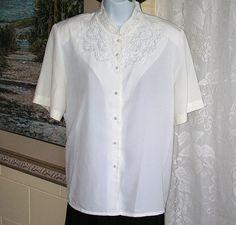 Vintage Shirt Embroidered Blouse Pearls Mandarin Collar Short Sleeves Christie Jill