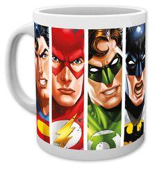 Taza cara La Liga de la Justicia. Dc. Cómics Estupenda taza con la imagen de las caras de los héroes de La Liga de la Justicia.